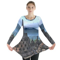 Borobudur Temple  Morning Serenade Long Sleeve Tunic