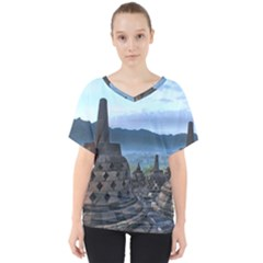 Borobudur Temple  Morning Serenade V Neck Dolman Drape Top
