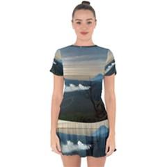 Bromo Caldera De Tenegger  Indonesia Drop Hem Mini Chiffon Dress