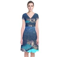 Kelimutu Crater Lakes  Indonesia Short Sleeve Front Wrap Dress