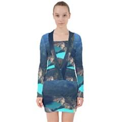 Kelimutu Crater Lakes  Indonesia V Neck Bodycon Long Sleeve Dress