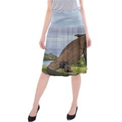 Komodo Dragons Fight Midi Beach Skirt