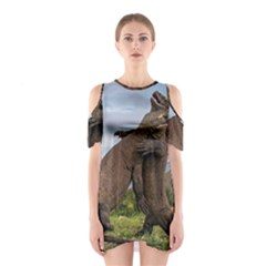Komodo Dragons Fight Shoulder Cutout One Piece