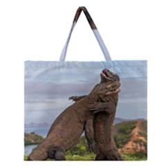 Komodo Dragons Fight Zipper Large Tote Bag by Nexatart