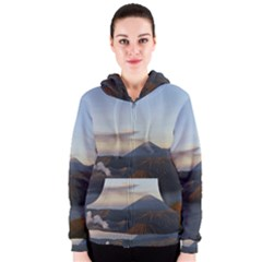 Sunrise Mount Bromo Tengger Semeru National Park  Indonesia Women s Zipper Hoodie
