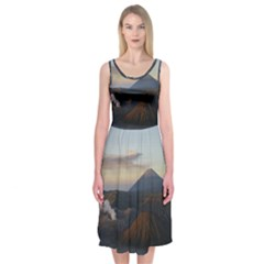 Sunrise Mount Bromo Tengger Semeru National Park  Indonesia Midi Sleeveless Dress