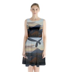 Sunrise Mount Bromo Tengger Semeru National Park  Indonesia Sleeveless Waist Tie Chiffon Dress