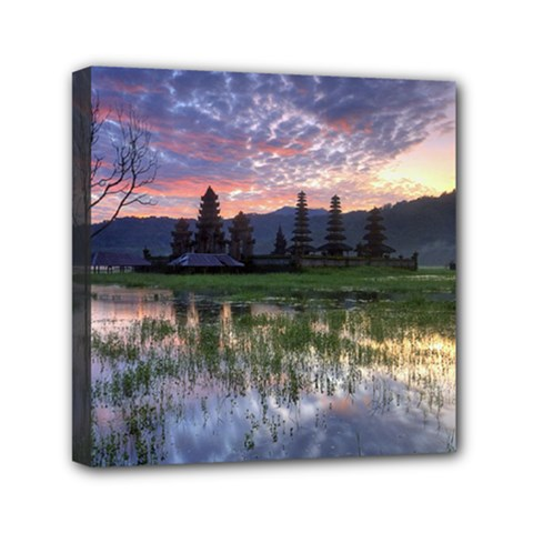 Tamblingan Morning Reflection Tamblingan Lake Bali  Indonesia Mini Canvas 6  X 6  by Nexatart