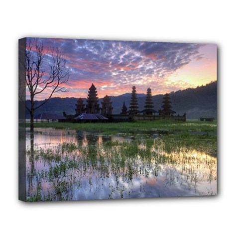Tamblingan Morning Reflection Tamblingan Lake Bali  Indonesia Canvas 14  X 11  by Nexatart