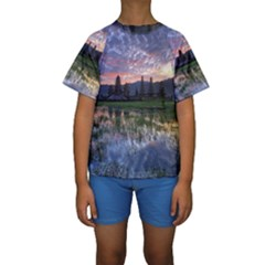 Tamblingan Morning Reflection Tamblingan Lake Bali  Indonesia Kids  Short Sleeve Swimwear