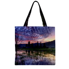 Tamblingan Morning Reflection Tamblingan Lake Bali  Indonesia Zipper Grocery Tote Bag by Nexatart
