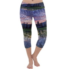 Tamblingan Morning Reflection Tamblingan Lake Bali  Indonesia Capri Yoga Leggings