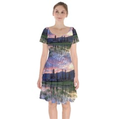 Tamblingan Morning Reflection Tamblingan Lake Bali  Indonesia Short Sleeve Bardot Dress