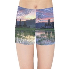 Tamblingan Morning Reflection Tamblingan Lake Bali  Indonesia Kids Sports Shorts
