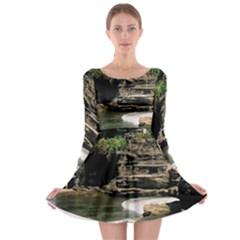 Tanah Lot Bali Indonesia Long Sleeve Skater Dress