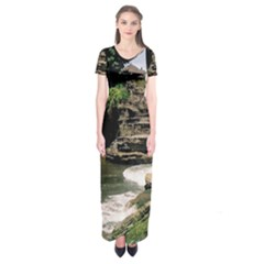 Tanah Lot Bali Indonesia Short Sleeve Maxi Dress