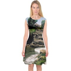 Tanah Lot Bali Indonesia Capsleeve Midi Dress