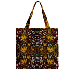 Fantasy Forest And Fantasy Plumeria In Peace Zipper Grocery Tote Bag by pepitasart