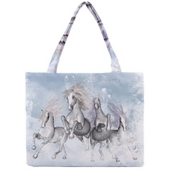 Awesome Running Horses In The Snow Mini Tote Bag by FantasyWorld7