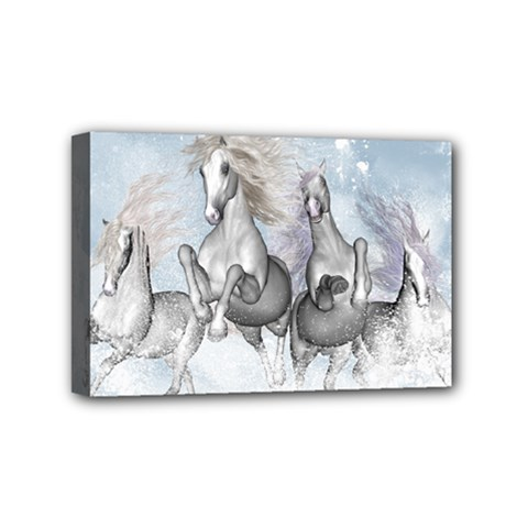 Awesome Running Horses In The Snow Mini Canvas 6  X 4