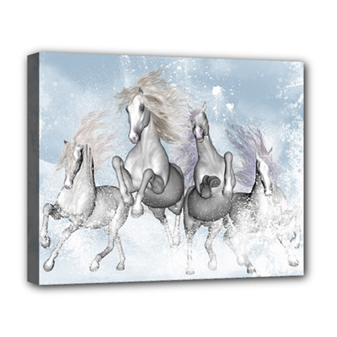 Awesome Running Horses In The Snow Deluxe Canvas 20  X 16   by FantasyWorld7