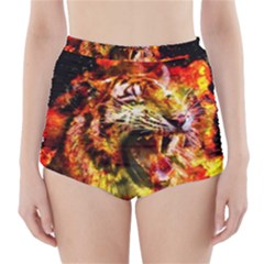 Fire Tiger High Waisted Bikini Bottoms by stockimagefolio1