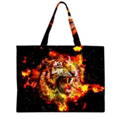 Fire Tiger Zipper Large Tote Bag by stockimagefolio1