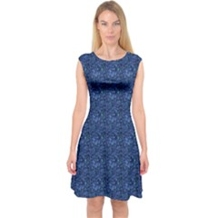 Blue Capsleeve Midi Dress