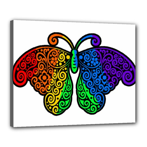 Rainbow Butterfly  Canvas 20  X 16  by Valentinaart