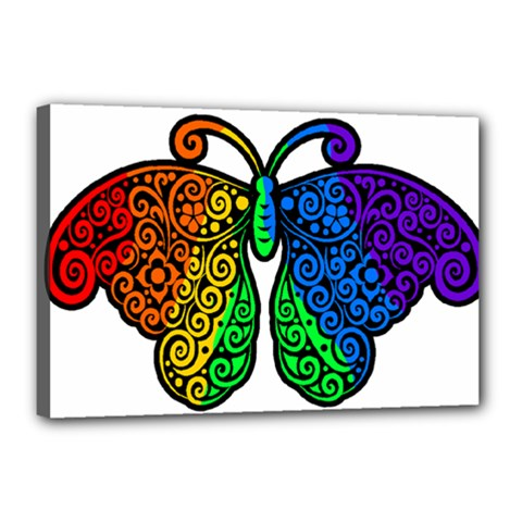 Rainbow Butterfly  Canvas 18  X 12  by Valentinaart