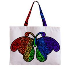 Rainbow Butterfly  Zipper Mini Tote Bag by Valentinaart