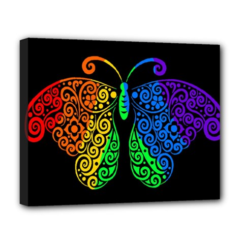 Rainbow Butterfly  Deluxe Canvas 20  X 16   by Valentinaart