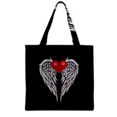 Angel Heart Tattoo Grocery Tote Bag by Valentinaart