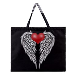 Angel Heart Tattoo Zipper Large Tote Bag by Valentinaart