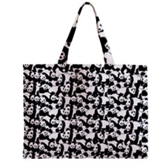 Panda Pattern Zipper Mini Tote Bag by Valentinaart