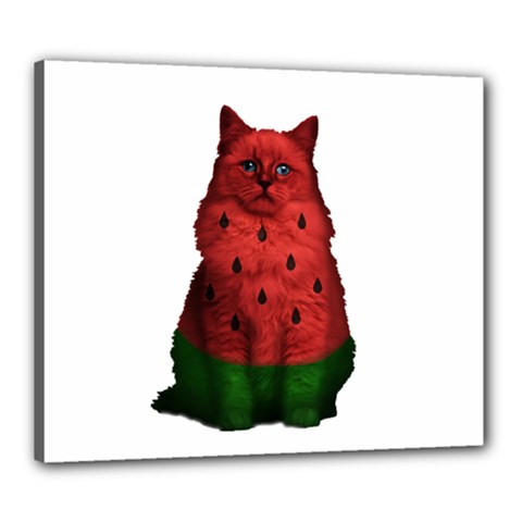 Watermelon Cat Canvas 24  X 20  by Valentinaart