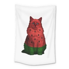 Watermelon Cat Small Tapestry by Valentinaart