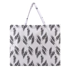 Feather Pattern Zipper Large Tote Bag by Valentinaart