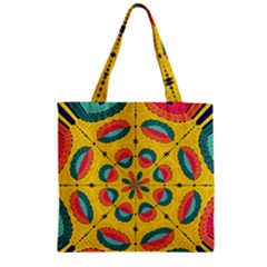 Textured Tropical Mandala Zipper Grocery Tote Bag by linceazul
