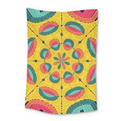 Textured Tropical Mandala Small Tapestry by linceazul