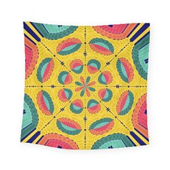 Textured Tropical Mandala Square Tapestry (small) by linceazul