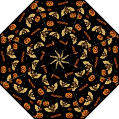 Bat, Pumpkin And Spider Pattern Folding Umbrellas by Valentinaart
