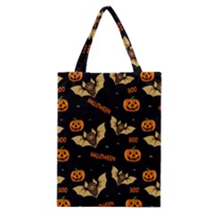 Bat, Pumpkin And Spider Pattern Classic Tote Bag by Valentinaart
