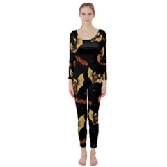 Bat, Pumpkin And Spider Pattern Long Sleeve Catsuit by Valentinaart