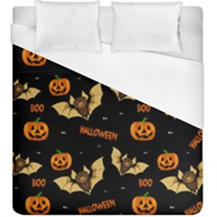 Bat, Pumpkin And Spider Pattern Duvet Cover (king Size) by Valentinaart