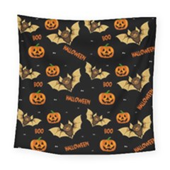 Bat, Pumpkin And Spider Pattern Square Tapestry (large) by Valentinaart