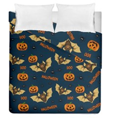 Bat, Pumpkin And Spider Pattern Duvet Cover Double Side (queen Size) by Valentinaart