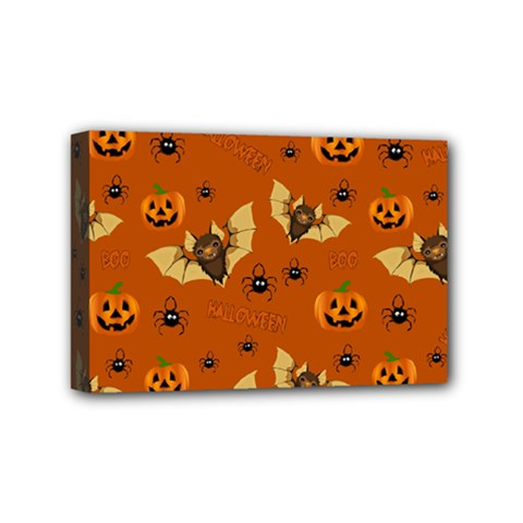 Bat, Pumpkin And Spider Pattern Mini Canvas 6  X 4  by Valentinaart