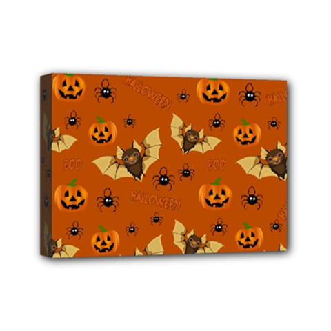 Bat, Pumpkin And Spider Pattern Mini Canvas 7  X 5  by Valentinaart