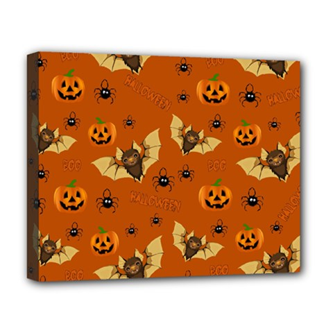 Bat, Pumpkin And Spider Pattern Deluxe Canvas 20  X 16   by Valentinaart